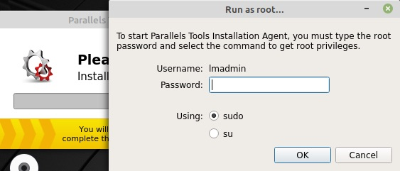 「Parallels Tools(Linux)」のインストール