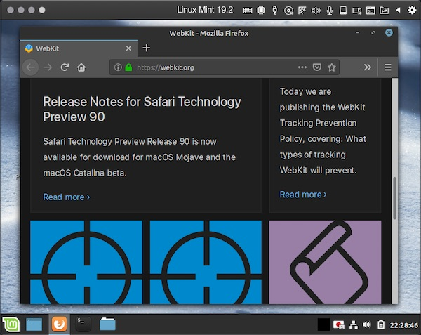 「Linux Mint 19.2」の「Firefox 68」