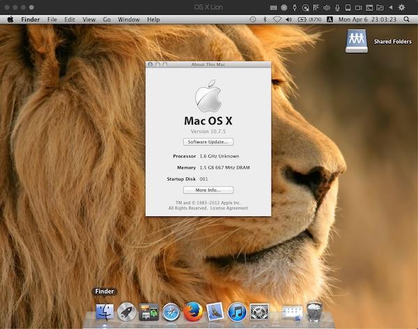 「OS X Lion」on「Parallels Desktop」