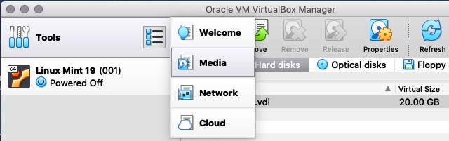 VirtualBox Manager 6.0