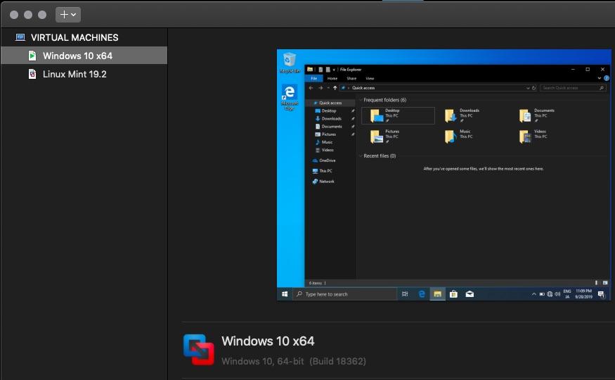 「VMware Fusion 11.5」のダークモード